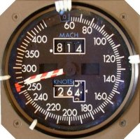 max operating speed, Barber's pole on the air speed indicator